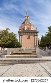 MADRID, SPAIN - JUN 9, 2017: Plaza de los Carros and Iglesia de San Andres - one of the oldest churches in Madrid