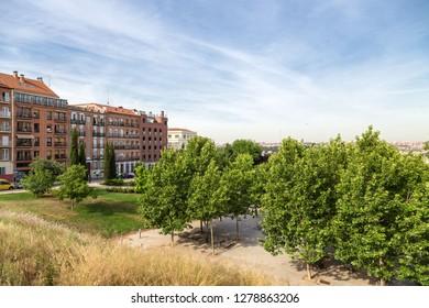 MADRID, SPAIN - JUN 9, 2017: View of the park (Parque de la Cornisa) near the monastery of San Francisco.