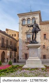 MADRID, SPAIN - JUN 9, 2017: Plaza de la Villa: a monument to Don Alvare de Bazan, 1891