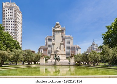 MADRID, SPAIN - JUN 9, 2017: The picturesque memorial of Cervantes on the Plaza of Spain