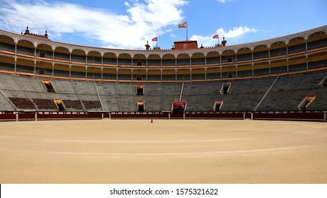 MADRID, SPAIN - JUNE 03, 2019: Las Ventas bullring in the morning before bullfighting.