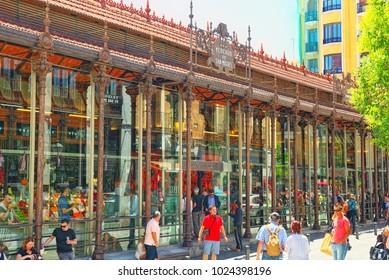 Madrid, Spain- June 05, 2017 : Market of San Miguel (Spanish: Mercado de San Miguel) is a covered market located in Madrid, Spain. Originally built in 1916.