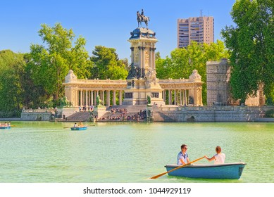 Madrid, Spain -June 05, 2017 : Grand Retreat Pond (Estanque Grande del Retiro) in  Buen Retiro Park  - most  largest and most beautiful of the Madrid parks.