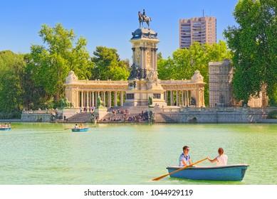 Madrid, Spain -June 05, 2017 : Grand Retreat Pond (Estanque Grande del Retiro) in  Buen Retiro Park  - most  largest and most beautiful of the Madrid parks.
