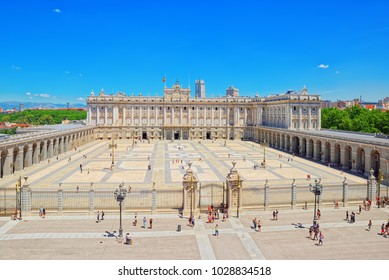 Madrid, Spain - June 05,2017 : Royal Palace of Madrid ( Palacio Real de Madrid) is the official residence of the Spanish Royal Family at the city of Madrid, but it is only used for state ceremonies.
