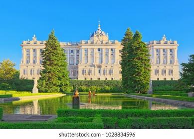 Madrid, Spain - June 06, 2017 :Sabatini Gardens (Jardines de Sabatini) and building of  Royal Palace in Madrid, Spain.