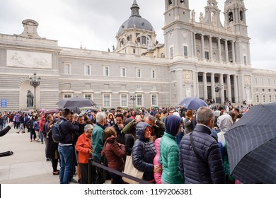 Madrid, Spain. June 1, 2017 : Tourists queuing for tickets at the royal palace.
