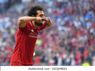 MADRID, SPAIN - JUNE 1, 2019: Mohamed Salah of Liverpool celebrates after he scored from the penalty spot during the 2018/19 UEFA Champions League Final between Tottenham Hotspur and Liverpool FC.