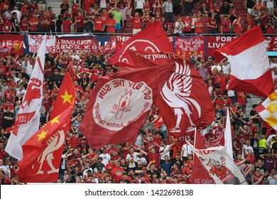MADRID, SPAIN - JUNE 1, 2019: Liverpool's fans sector pictured prior to the 2018/19 UEFA Champions League Final between Tottenham Hotspur (England) and Liverpool FC (England) at Wanda Metropolitano.
