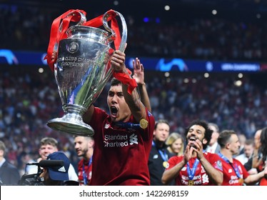 MADRID, SPAIN - JUNE 1, 2019: Roberto Firmino of Liverpool pictured during the award ceremony held after the 2018/19 UEFA Champions League Final between Tottenham Hotspur and Liverpool FC,