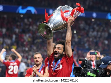 MADRID, SPAIN - JUNE 1, 2019: Mohamed Salah of Liverpool pictured during the award ceremony held after the 2018/19 UEFA Champions League Final between Tottenham Hotspur and Liverpool FC.