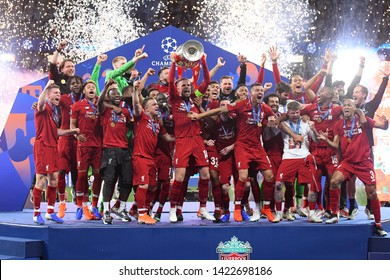 MADRID, SPAIN - JUNE 1, 2019: Liverpool players pictured during the award ceremony held after the 2018/19 UEFA Champions League Final between Tottenham Hotspur and Liverpool FC.