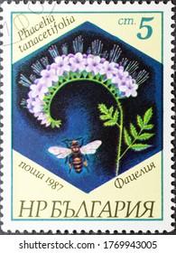 MADRID, SPAIN - JUNE 13, 2020. Vintage stamp printed in Bulgaria shows Phacelia tanacetifolia, Phacelia and bee