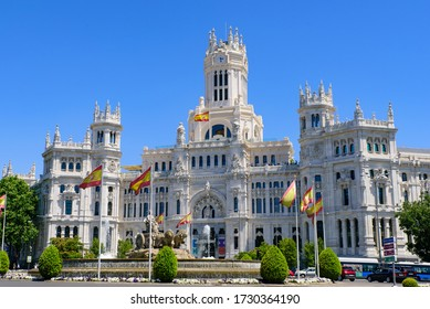 Madrid / Spain - June 14 2019: Cybele Palace, the city hall of Madrid, Spain.