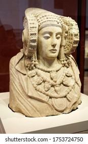 Madrid, Spain - June 15, 2014: Sculpture named as Dama de Elche in National Archaeological Museum