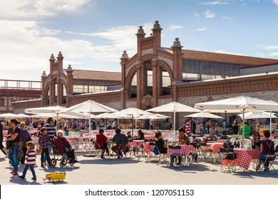 MADRID SPAIN. June 16, 2018. Terrace of MATADERO (slaughterhouse). Ancient industrial buildings converted into a cultural hotbed. An important tourist center for the artistic manifestations