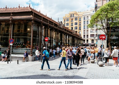 Madrid, Spain - June 2, 2018: San Miguel Market is the most popular market in Madrid among tourists since it is located in the center of Madrid, The market is not a traditional grocery market.