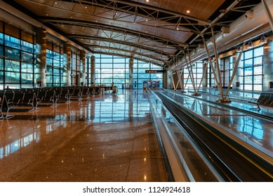 Madrid, Spain - June 20, 2018: Interior of boarding gates lounge in  Barajas - Adolfo Suarez Airport