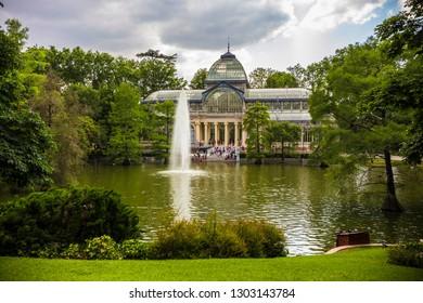 MADRID, SPAIN - June 2018: Crystal Palace (Palacio de Cristal) in El Retiro Park, Madrid, Spain