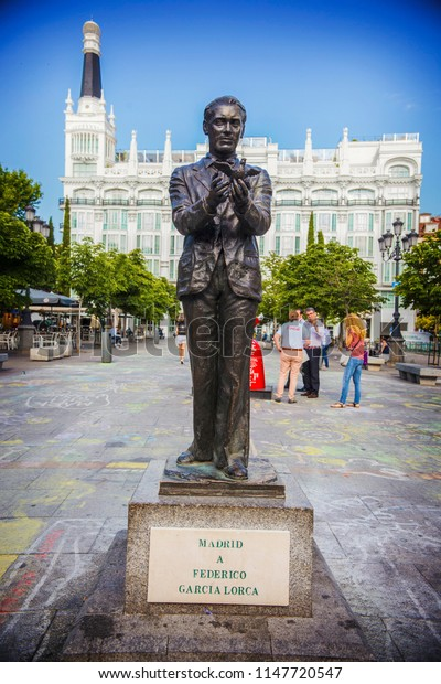 MADRID, SPAIN - June 2018: Federico Garcia Lorca monument in the center of Madrid. Spanish poet Federico Garcia Lorca bronze statue, Madrid, Spain