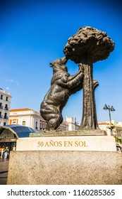 MADRID, SPAIN - June 2018: Statue of Bear and strawberry tree in Puerta del sol, Madrid, Spain