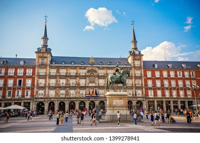 MADRID, SPAIN - June 2018: Tourists at Plaza Mayor, main square of Madrid city, Spain