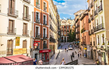 MADRID, SPAIN - June 2018: Traditional Spanish architecture in Madrid downtown near the Plaza Mayor Square, Spain