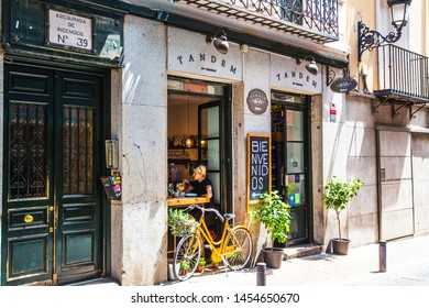 MADRID, SPAIN - June 2018: Traditional Spanish street cafe in Madrid downtown, Spain