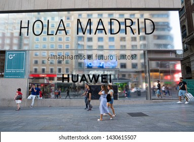 Madrid, Spain. June 2019: Huawei will open its biggest flagship store in Europe this year on the Gran Via in Madrid .Huawei is among more than 140 Chinese entities on US trade blacklist