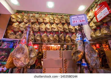 MADRID, SPAIN - June 2019: Museo de Jamon in Madrid. Interior of the shop and Museum selling big choice of Traditional Spanish Jamon, Madrid, Spain