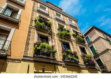 MADRID, SPAIN - June 2019: Traditional Spanish architecture in Madrid downtown, Spain