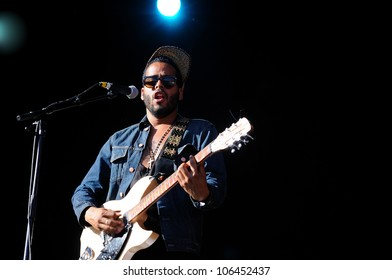 MADRID, SPAIN - JUNE 22: Twin Shadow band performs at Matadero de Madrid on June 22, 2012 in Madrid, Spain. D�­a de la M�ºsica Festival.