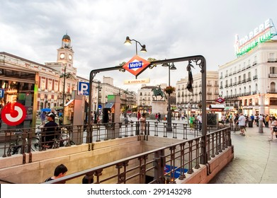 MADRID SPAIN - JUNE 23, 2015: Sol Metro station in Puerta del Sol, Madrid, one of the famous landmarks of the capital and the centre of Madrid, Spain.