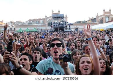 MADRID, SPAIN - JUNE 23: Fans at Love of Lesbian band concert at Matadero de Madrid on June 23, 2012 in Madrid, Spain. Dia de la Musica Festival.
