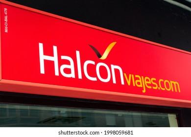 MADRID, SPAIN - JUNE 26, 2021. Halcon viajes logo on Halcon viajes travel agency store