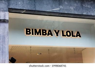 MADRID, SPAIN - JUNE 26, 2021. Bimba y lola logo on Bimba y lola store. Bimba y lola is a spanish cloathing company