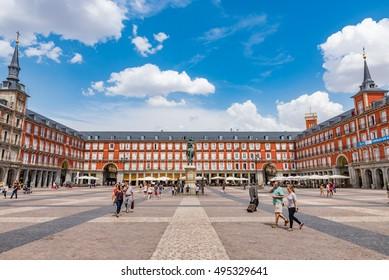 MADRID, SPAIN - JUNE 29: The Plaza Mayor in Madrid, Spain on June 29, 2016. Plaza Mayor is a central plaza in the city of Madrid.