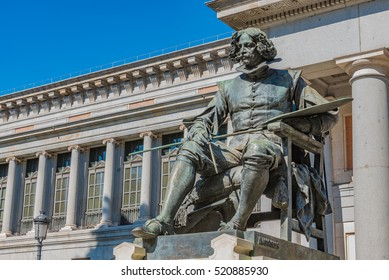 MADRID, SPAIN - JUNE 30: Statue of  Diego Velazquez at the Prado Museum in Madrid, Spain on June 30, 2016. Madrid is the capital of Spain.