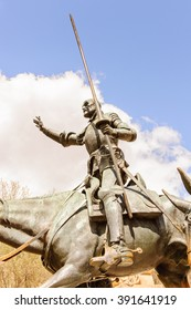 MADRID, SPAIN - MAR 23, 2014: Sculpture of Don Quixote and Sancho Panzo on the Plaza de Espana, Madrid, Spain.