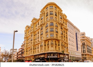 MADRID, SPAIN - MAR 23, 2014: Gran Via street (Great Way), Madrid, Spain. Gran via is known as the the street that never sleeps or as Spanish Brodway