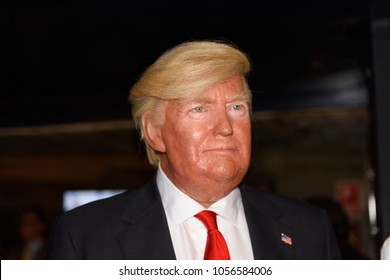 MADRID, SPAIN - MAR 28, 2018: Donald Trump, the 45 th president of the United States of America, Wax Museum, Madrid