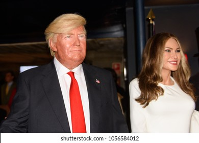 MADRID, SPAIN - MAR 28, 2018: Donald Trump, the 45 th president of the United States of America and his wife Melania, Wax Museum, Madrid