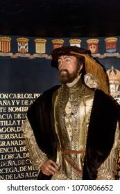 MADRID, SPAIN - MAR 28, 2018:  Charles I (Carlos) of Spain, Great Empire, Wax Museum in Madrid