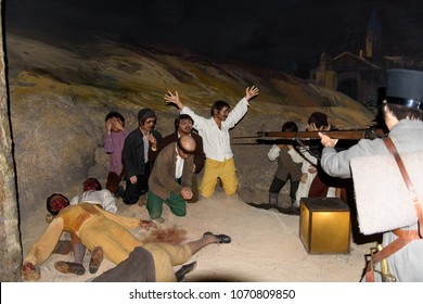 MADRID, SPAIN - MAR 28, 2018: Reconstruction of the painting The moncloa shootings (Los fusilamientos de moncloa) of the Spanish painter Francisco de Goya,  Wax Museum in Madrid