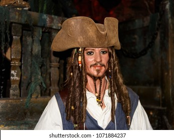 MADRID, SPAIN - MAR 28, 2018: Johnny Depp as the Captain Jack Sparrow from the Pirates of the Caribbean, Cinema Area, Wax Museum in Madrid