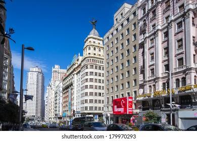 MADRID, SPAIN - MAR 4, 2014:  Gran Via street (Great Way), Madrid, Spain. Gran via is known as the the street that never sleeps or as Spanish Brodway