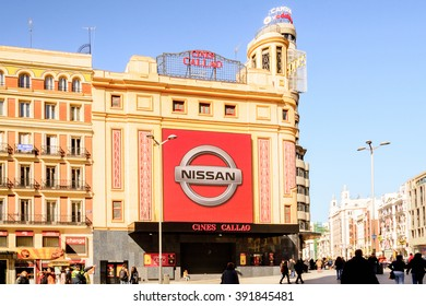 MADRID, SPAIN - MAR 4, 2014: Cinema building on the Callao square near the Gran via, Madrid, Spain. Gran via is known as the the street that never sleeps or as Spanish Brodway