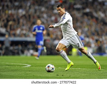 MADRID, SPAIN - March 10th, 2015 :  Portuguese CRISTIANO RONALDO of REAL MADRID in action during Europe Champions League match vs SHALKE 04 at Santiago Bernabeu Stadium.