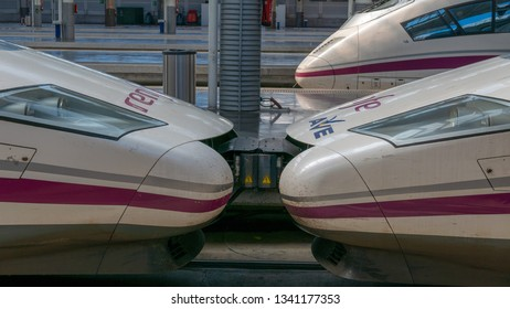 MADRID, SPAIN - MARCH 11, 2019: high-speed AVE trains at Puerta de Atocha station in Madrid