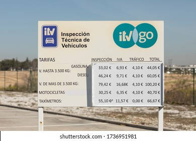 Madrid, Spain - March 11, 2020: Rates of the ITV go office of technical inspection of vehicles in the district of Ciudad de la Imagen.